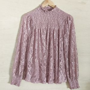 CABLE & GAUGE Pink Lacy Smocked Victorian Blouse